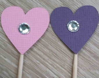 Heart Cupcake Topper, 24 Mini heart cupcake toppers with Diamante, Pink and Purple,  Baby Shower, First Birthday, wedding, bridal shower
