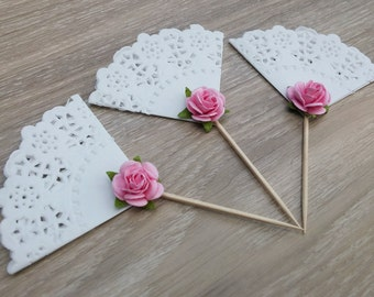 Doily cupcake toppers, 12 shabby Chic toppers,  wedding, bridal shower, baby shower,  cake topper, birthday, hens night, kitchen tea