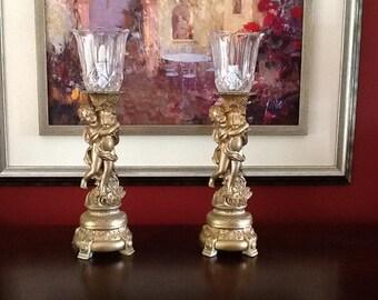 Cherub Torch Table Lamps W Glass Shade