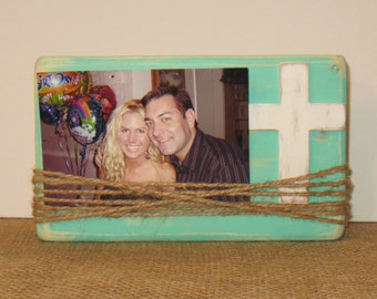 rustic wooden cross beach decor distressed wood wood cross frame religious decor distressed cross aqua frame beach wedding decor