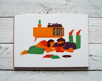 Vintage Style Couple Portrait Illustration Print, Couple Playing LP Records Homeware by Dearly Beloved