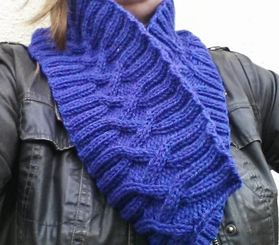 Aran Infinity Scarf: Purple Irish Wool Seamless Cowl. Matching fingerless mittens available. Made in Ireland. Circle Scarf. Original design.