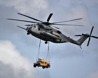 U.S. Marines CH-53 Super Stallion Carries Humvee
