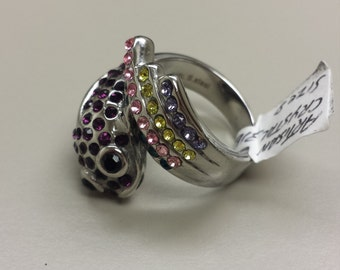 Fish Steel Ring With Colored Artisan Crystals