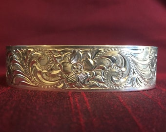 "Hand Engraved ""Western Bright-Cut"" Sterling Silver Bracelet"