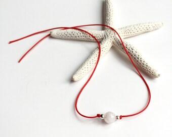 Moonstone Wish Bracelet, Red String of Fate, Sterling Silver, Kabbalah Bracelet, Soulmate, Friendship Bracelet, Evil Eye Bracelet (BW1010)