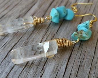 Turquoise & Clear Quartz Earrings