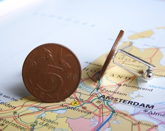 Netherlands Dutch penny coin cuff links in birth year 1950 - 1951 - 1952 - 1953 - 1954 - 1955 - 1956 - 1957 - 1958 - 1959