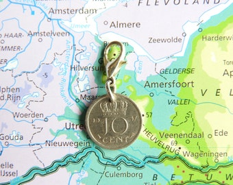 Netherlands Dutch coin charm dime / dubbeltje birth year 1950 - 1951 - 1952 - 1953 - 1954 - 1955 - 1956 - 1957 - 1958 - 1959 pendant