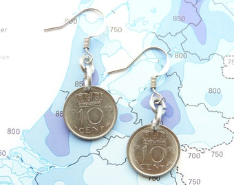Netherlands Dutch coin earrings dimes/dubbeltjes birthyear 1970 - 1971 - 1972 - 1973 - 1974 - 1975 - 1976 - 1977 - 1978-1979-1980 nickelfree