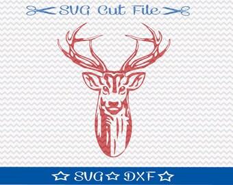 Deer Head SVG File / SVG Cut file for Silhouette / Buck SVG / Antlers / Animal svg / Deer Hunting Cut File / Deer svg