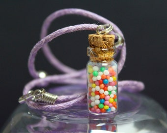 Miniature Sprinkles Bottle Charm Necklace, Handmade, Hundreds and Thousands Jewellery, Cute Gift for Her, Children's Gift, Made in Australia