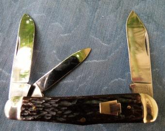 Vintage 3-Blade John Primble Stag Handle Folding Pocket Knife