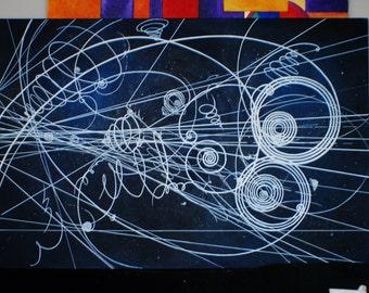 Original particle trails painting