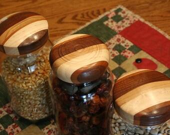 Three Wooden Mason Jar Lids