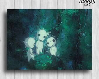 kodama tree spirit print anime watercolor princess mononoke art