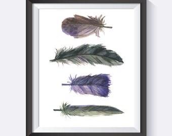 Feather Wall Art, Feathers, Purple Feather Wall Art, Cute Art, Pretty, Happy, Digital Print Wall Art
