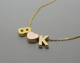 Gold necklace, Gold initial jewelry, Gold letters necklace, Couple necklace, Christmas gift