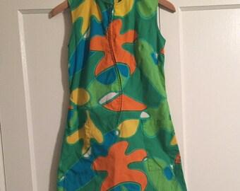 Vintage Hawaiian 60s Tiki Mod Shift Dress Size Small