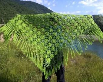 SALE 50%,Bright green shawl, Crochet shawl ,Shawl,Warm, shawl,Winter shawl,Shawl flower glade,Big shawl