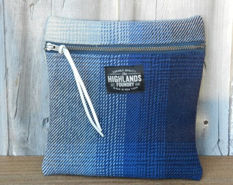 Salvaged Navy Ombre Plaid Pouch