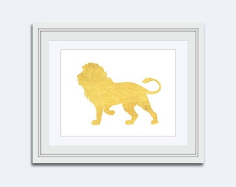 golden lion Print - Lion printable - Lion art print - Printable kids gift - faux gold print - children room art - Printable Art - Safari Art