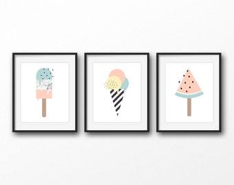 Set of 3 popsicle prints - Ice cream and popsicle art prints - Printable art - Modern wall art - Sweet food print - Pastel color print
