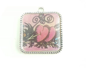 Vintage Double Heart and Arrow Image Cupid Love Pendant