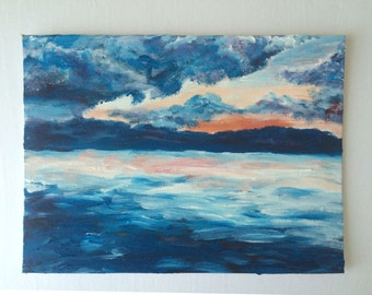Blue Sunset Original Acrylic Painting