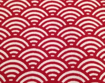 50x80 cm- Japanese fabric pattern Red Waves seigaiha 100% cotton