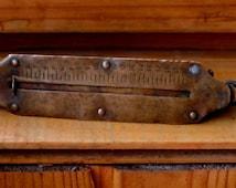 Brass Weigher, Antique Hand steelyard, vintage Russian metal pocket balance