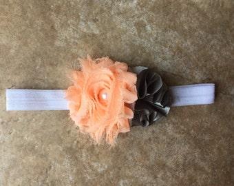 Baby girl headband Peach shabby flower and gray flower on white headband baby girl headband