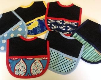 Set of 6 Jeans baby bibs