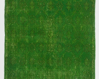4x6.6 Ft Grass Green color OverDyed Vintage Turkish Rug. Ideal for both residential and commercial interiors. Wool & Cotton blend.  Y462