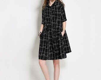 A Checkered Skirt Summer New Skirts Loose Big Size Women's Clothing