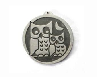 "Vintage Jorgen Jensen Pewter Owl Pendant, Scandinavian Design, Owl Necklace Pendant, Two Owls with Moon, Pendant Only, 2"" Wide, Pristine"