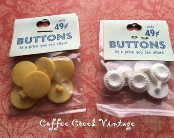 Vintage Buttons-Yellow and White (2 bags)