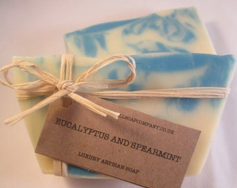 Eucalyptus and Speamint Soap, Natural, Cold Process, Handmade in Cornwall, Pure Essential Oils, Vegan