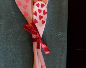 Valentine's Day Hearts Wooden Spoons