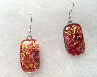 Fused glass earrings orange  E6