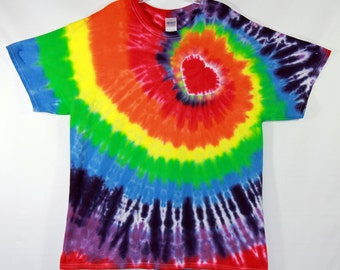 Heart Rainbow Spiral Tie Dye Short Sleeve Adult XL