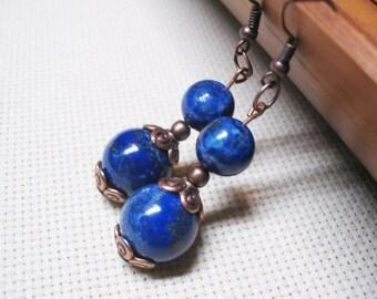 Lapis Lazuli Earrings-Boho Earrings-Bohemian Earrings-Dangle Earrings-Beaded Earrings-Ethnic Earrings-Gemstone Earrings-Lapis Lazuli Jewelry