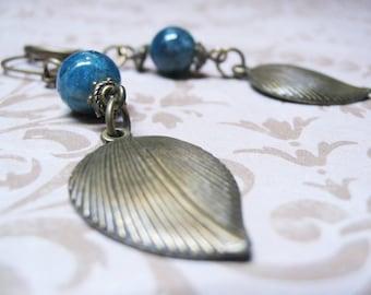 Apatite Earrings-Vintage Earrings-Dangle Earrings-Beaded Earrings-Gemstone Earrings-Romantic Earrings-Antique Charm-Apatite Jewelry