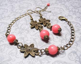 Pink Coral Jewelry Set Coral Jewelry Set Pink Coral Bracelet Dangle Earrings Vintage Jewelry Gemstone Jewelry Romantic Jewelry Gift for Her