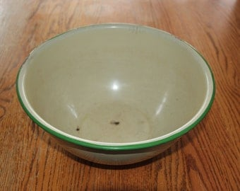 Vintage Enamelware bowl, Large mixing bowl, antique, home decor, farm and home, kitchen