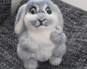 Rabbit, needle felted, felt rabbit, animal, stuffed animal, stuffed animal, needle, wool, felting,
