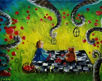 Picnic, tables, oil on canvas, decorative painting, 32 X 17