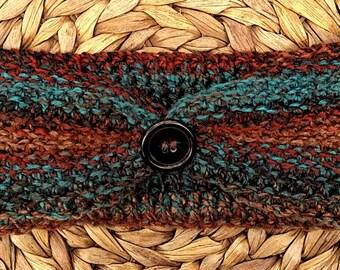 Headband Earwarmer Crocheted in Earthy Tones of Brown, Rust and Blue