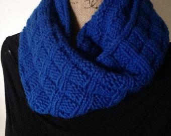 Dark Blue Checkered Cowl, Dark Blue Infinity Scarf