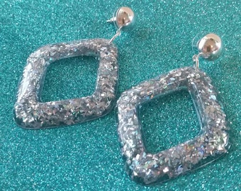 Super Hoops in Silver Sparkle